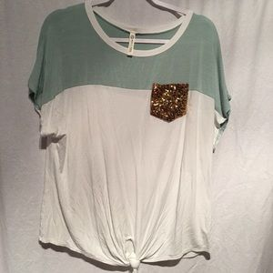Sun n Moon Tee Green/White Sequined Pocket SZ L
